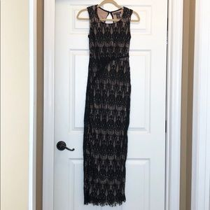 Rachael & Chloe Long Black Lace Dress